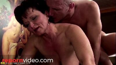 Hairy mature takes anal creampie