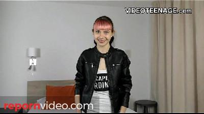 tiny 18 years old punk teen does first porn casting