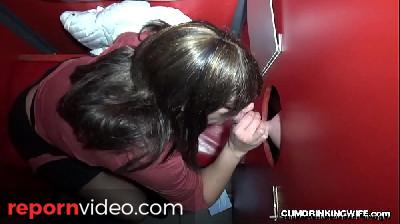 Slutwife sucking and fucking lots of cocks at the gloryhole