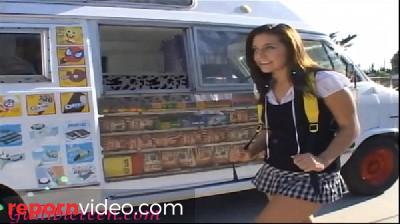 icecream truck super cute teen on roller skates shares icecream mans cock with schoolgirl friend